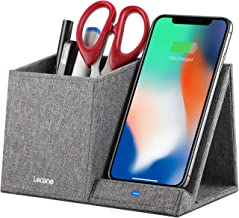 Lecone 10W Fast Wireless Charger with Desk Organizer Qi Certified Fabric Induction Charger Stand Pen Pencil Holder Compatible iPhone 11/Xs MAX/XR/XS/X/8/8, Samsung S10/S9/S9+/S8/S8+/Note 10, Grey