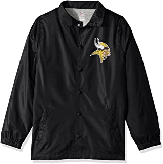 NFL Youth Boys Bravo Coaches Jacket-Black-M(10-12), Minnesota Vikings