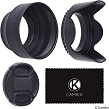 58mm Set of 2 Camera Lens Hoods and 1 Lens Cap - Rubber (Collapsible) + Tulip Flower - Sun Shade/Shield - Reduces Lens Flare and Glare - Blocks Excess Sunlight (58 mm, Rubber Hood + Tullip Hood + Cap)