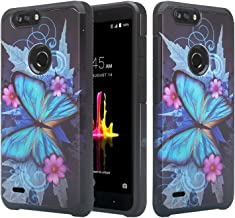 GALAXY WIRELESS Compatible for ZTE Blade Z Max Case, ZTE Sequoia Case [Impact Resistant] Hybrid Dual Layer Defender Protective PhoneCase Cover Girls Women for ZTE Sequoia - Blue Butterfly