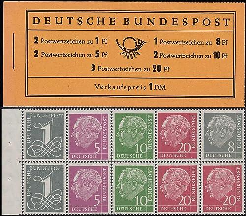 Goldhahn BRD Bund Markenheft Nr. 4Xv Heuss 1958  stehendes WZ Briefmarken für Sammler