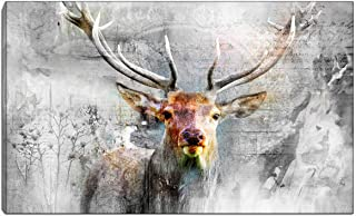 Deer Pictures Oil Painting Black and White Animal Wall Art Canvas Print for Living Room Bedroom Office Kitchen Decor With ...