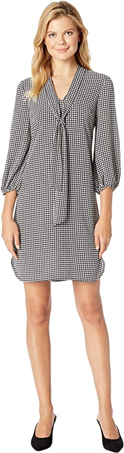 Houndstooth Stripe Chiffon Shift Dress