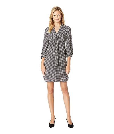 Adrianna Papell Houndstooth Stripe Chiffon Shift Dress (Black/Ivory) Women