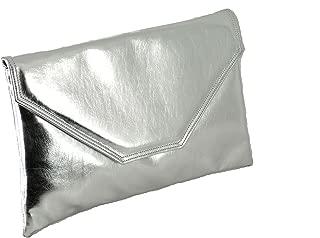 Womens Stylish Large Envelope Metallic Clutch Bag/Shoulder Bag Wedding Party Prom Bag