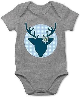 Shirtracer Oktoberfest & Wiesn Baby - Oktoberfest Hirsch mit Edelweiß - blau - Baby Body Kurzarm für Jungen und Mädchen