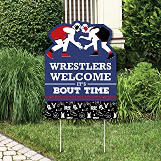 Big Dot of Happiness Own the Mat - Wrestling - Party Decorations - Birthday Party or Wrestler Party Welcome Yard Sign