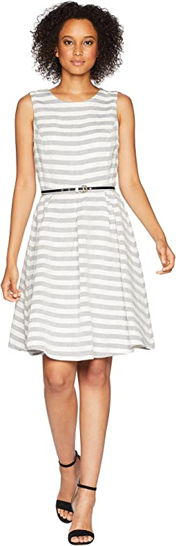 Streped Fit and Flare Dress with Self Belt