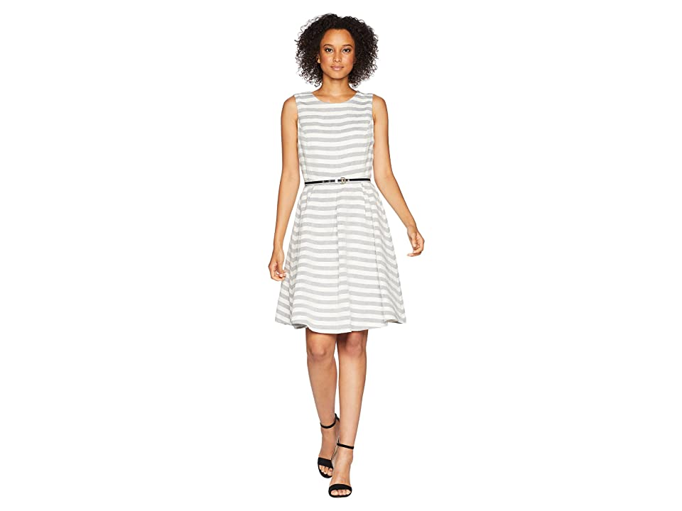 Nine West Streped Fit and Flare Dress with Self Belt (Navy/Lily) Women
