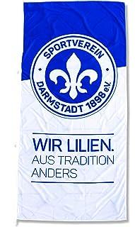 FBS Sportverein SV Darmstadt 98 Fahne - Hissfahne Flagge mit Karabiner - Wir Lilien - 120x250cm - Original Lizenzprodukt