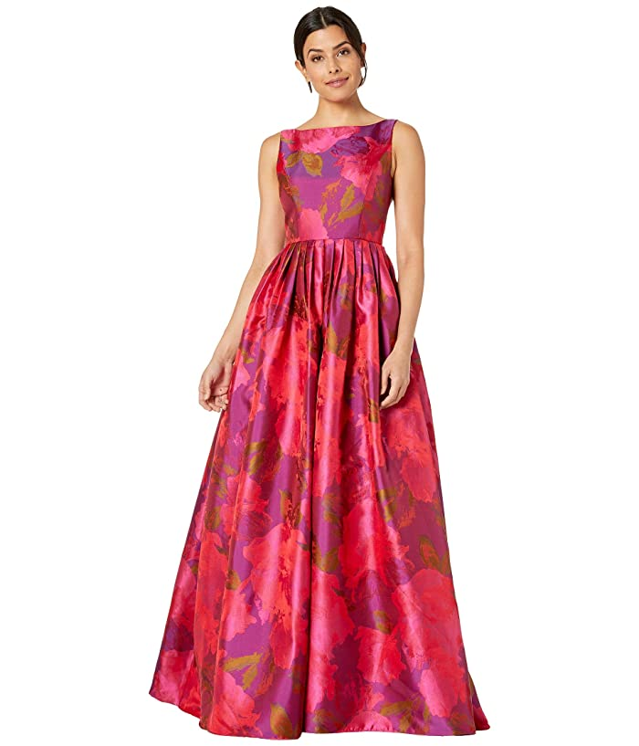 1960s Cocktail, Party, Prom, Evening Dresses Adrianna Papell Boat Neckline Floral Jacquard Ball Gown with Long Pleated Full Skirt Magenta Multi Womens Dress $200.69 AT vintagedancer.com