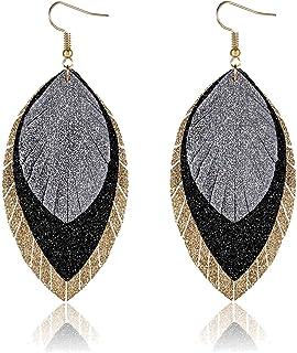 PHALIN Leather Earrings for Women Triple Layer Glitter Feather Leaf Earrings Lightweight Faux Leather Drop Dangle Earring ...