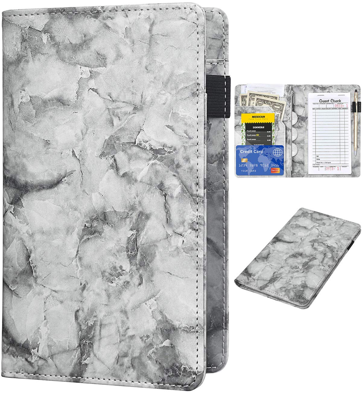 Server Books for Direct sale of manufacturer Waitress - cheap Marble S Book Leather Waiter Texture