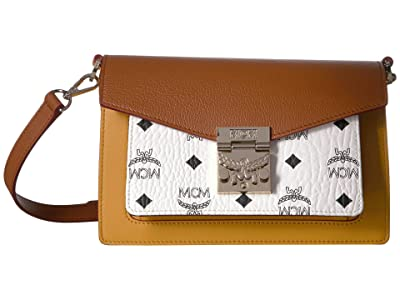 MCM Patricia Visetos Leather Block Crossbody Small (White/Cognac) Cross Body Handbags