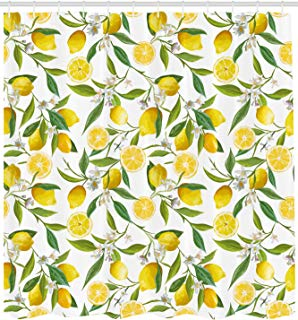 """Ambesonne Nature Shower Curtain, Exotic Lemon Tree Branches Yummy Delicious Kitchen Gardening Design, Cloth Fabric Bathroom Decor Set with Hooks, 84"""" Extra Long, Fern Green"""