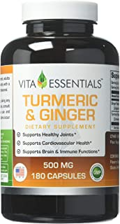 Vita Essentials Turmeric & Ginger 500 Mg Capsules. 180 Count