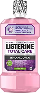 Listerine Total Care Alcohol-Free Anticavity Mouthwash, 6 Benefit Fluoride Mouthwash for Bad Breath and Enamel Strength, Fresh Mint Flavor, 500 mL (Pack of 2)