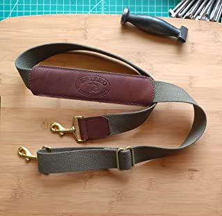 """NEW !!! Adjustable Replacement shoulder strap.brown leather, heavyweight pure cotton 1 1/2"""" webbing with solid brass hardware"""