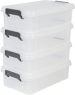 Iris Ohyama, Lot de 4 Boîtes de Rangement Empilables avec Couvercle - Multi Box - MBX-4, Plastique, Transparent, 4 L, 36, ...