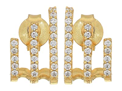 SOLE / SOCIETY Climber Huggies Earrings (12K Soft Polish Gold/Crystal) Earring