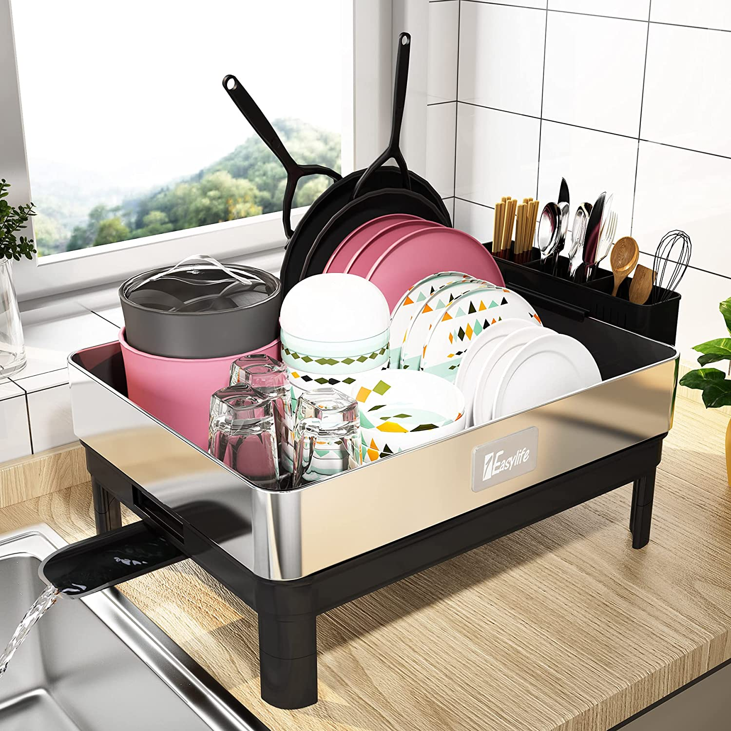 Buy Dish Drying Rack 1easylife Large Dish Rack Drainboard Set With Fingerprint Proof Frame 304 Stainless Steel Drying Rack With Swivel Spout Utensil Holder Dish Drainer For Kitchen Counter Storage Online In Indonesia