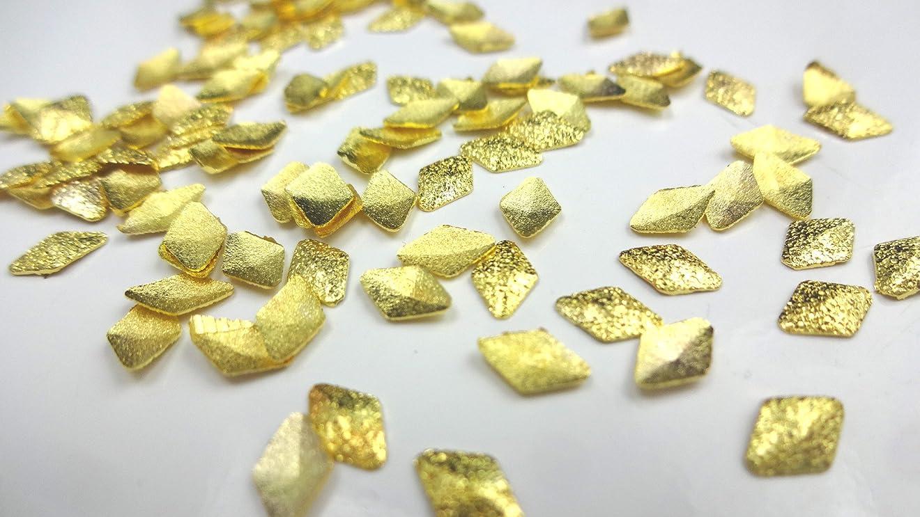 指令誤解を招く交じる【HARU雑貨】サンドスタッズ ダイヤ 10個セット ゴールド/ひし形 メタル パーツ ネイル(3.5mm)