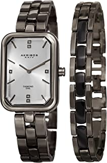 Women's Diamond Rectangular Watch Set - Genuine Diamond Markers On Stainless Steel Watch with Matching Jewelry Bracelet - AK995