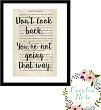 Don't Look Back, You're Not Going That Way Farmhouse Inspirational Mary Engelbreit Quote Vintage Book Page Art 5x7 Unframed Print