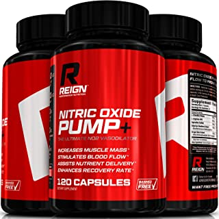 Nitric Oxide Pump+ - Powerful Nitric Oxide Supplements - Pre Workout with L Arginine, Citrulline Malate & Agmatine Sulfate - Stimulates Blood Flow for Increased Muscle Mass - 120 Vegetable Capsules