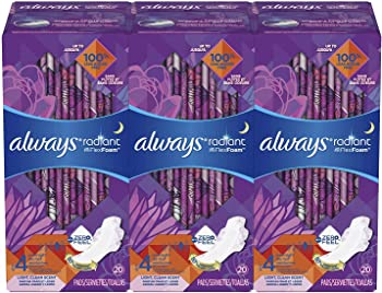 3-Pack Always Radiant Feminine Pads for Women Size 4 20 Count