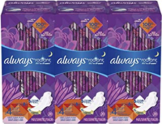 Always Radiant Feminine Pads for Women, Size 4 (Pack of 3), Overnight Absorbency, With Wings, Scented, 20 Count, (Packaging May Vary)