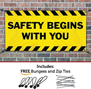 HALF PRICE BANNERS | Safety Begins with You Vinyl Banner-Indoor/Outdoor 2X4 Foot-Yellow | Includes Bungees & Zip Ties | Easy Hang-Made in USA