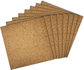 Thornton's Office Supplies Modular Frameless Cork Mini Wall Bulletin Board Tiles with Adhesive, Natural, 12 inch x 12 inch, Frameless (8 Pack)
