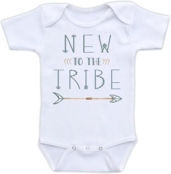 funny outfit family reveal newborn baby toddler premie brother announcement clothes New to the tribe- onesie unisex sister