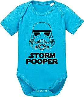 Sambosa Storm Pooper Sprüche Baby Strampler Bio Baumwolle Body Jungen & Mädchen 0-12 Monate