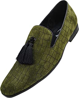 92829a514c5 Amali Men s Exotic Velvet Loafer Slip On with Black Fabric Tassel Dress Shoe