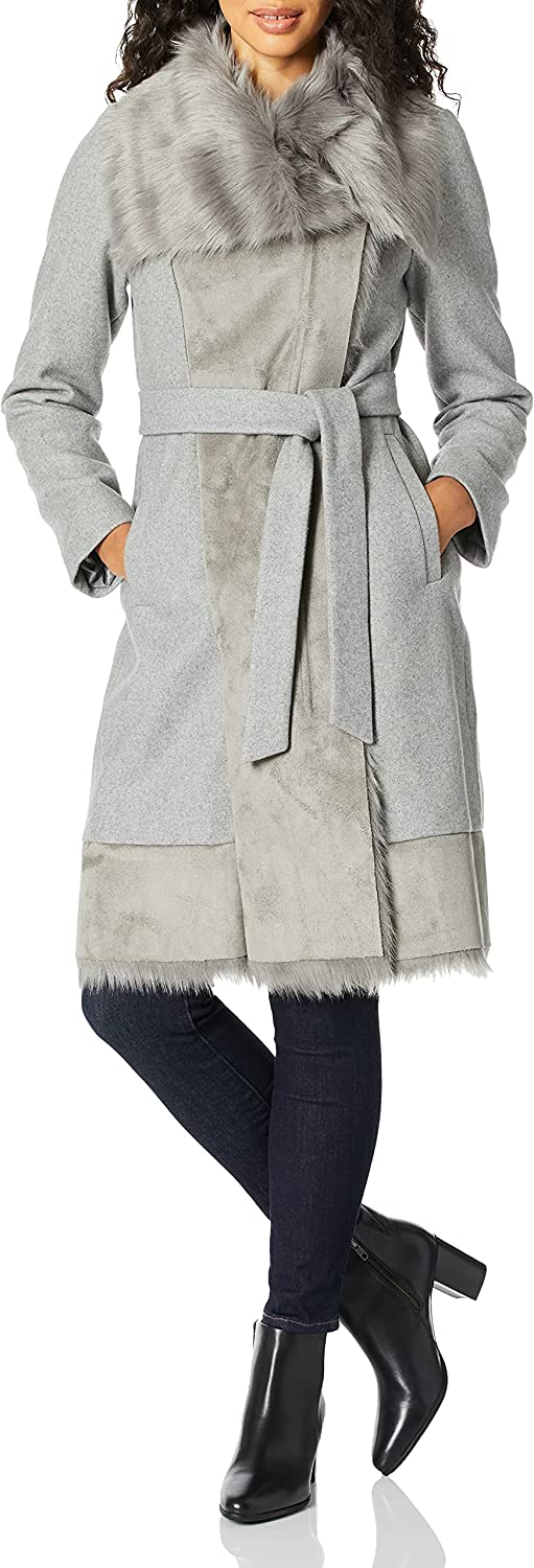 Vince Camuto womens Wool Coat With Bonded Faux Fur Combo