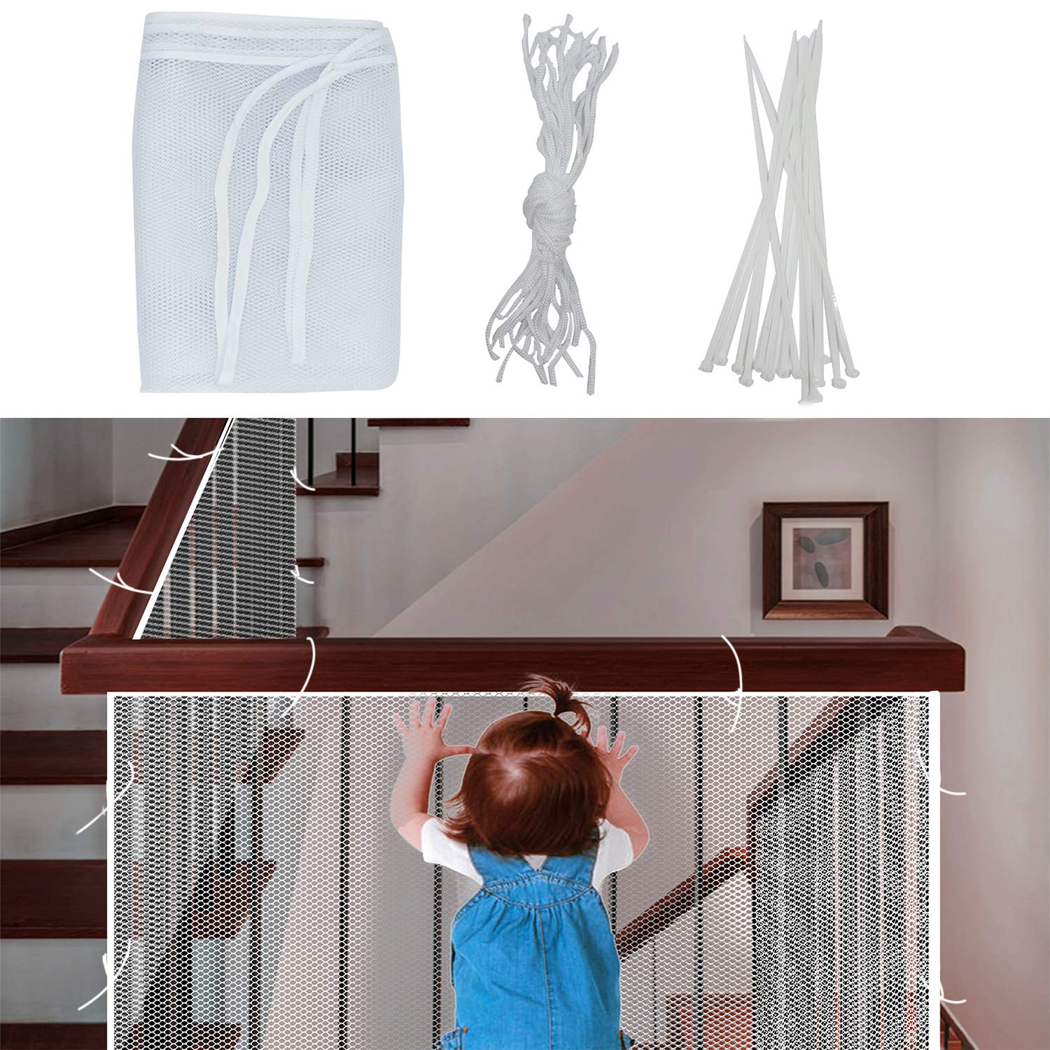 LiXiongBao Child Safety Net Kids Stairs Safety Railing & Banister Guard Baby Thick Hard Mesh Netting Protection Rail Balcony Stair Fence Baby Fence Stairwell Net Decoration (10ft x 2.5ft)