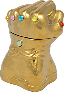 Marvel Avengers Infinity Gauntlet Cookie Jar - Gold with Infinity Stone Accents - Ceramic - 9 In Tall