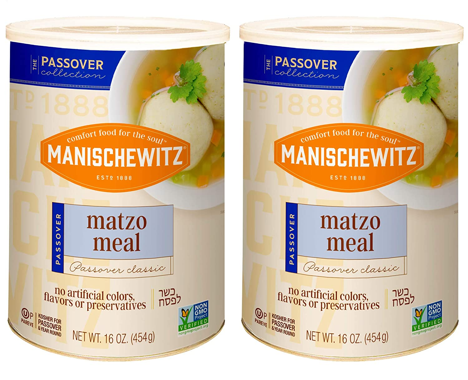 Manischewitz Matzo Meal, 16 oz Resealable Canister, (2 Pack - Total 2lbs) Kosher for Passover