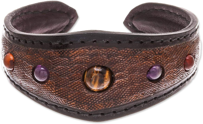 NOVICA Carnelian Stainless Steel Leather Cuff Bracelet 'Orb Love in Brown'