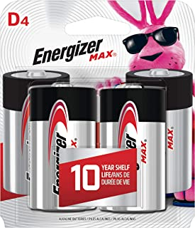 Energizer Max D Batteries, Premium Alkaline D Cell Batteries (4 Battery Count) - Packaging May Vary