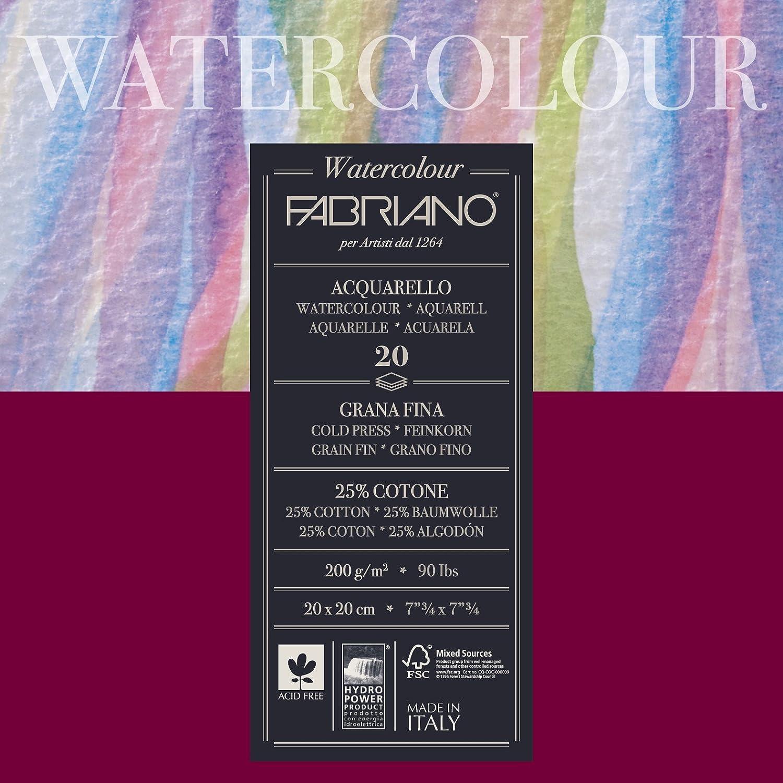Fabriano 72612020 Aquarellpapier, Baumwolle, weiß, 20 x 20 x 0,5 cm B0060KT4TC  | ein guter Ruf in der Welt
