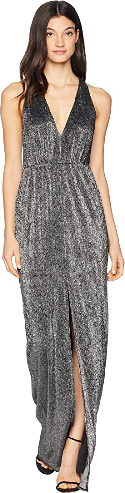 Sleeveless Deep V-Neck Metallic Knit Gown