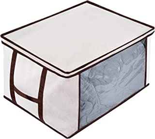 MaidMAX Jumbo Zippered Storage Bag for Blanket, Clothes, Breathable Folding Canvas Comforter Storage Bag Organizer with Clear Window, Linens, Beige