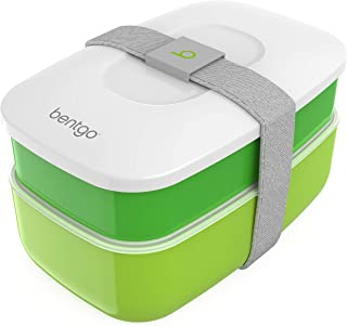 Bentgo Classic (Green) - All-in-One Stackable Lunch Box Solution - Sleek and Modern Bento Box Design Includes 2 Stackable Containers, Built-in Plastic Silverware, and Sealing Strap