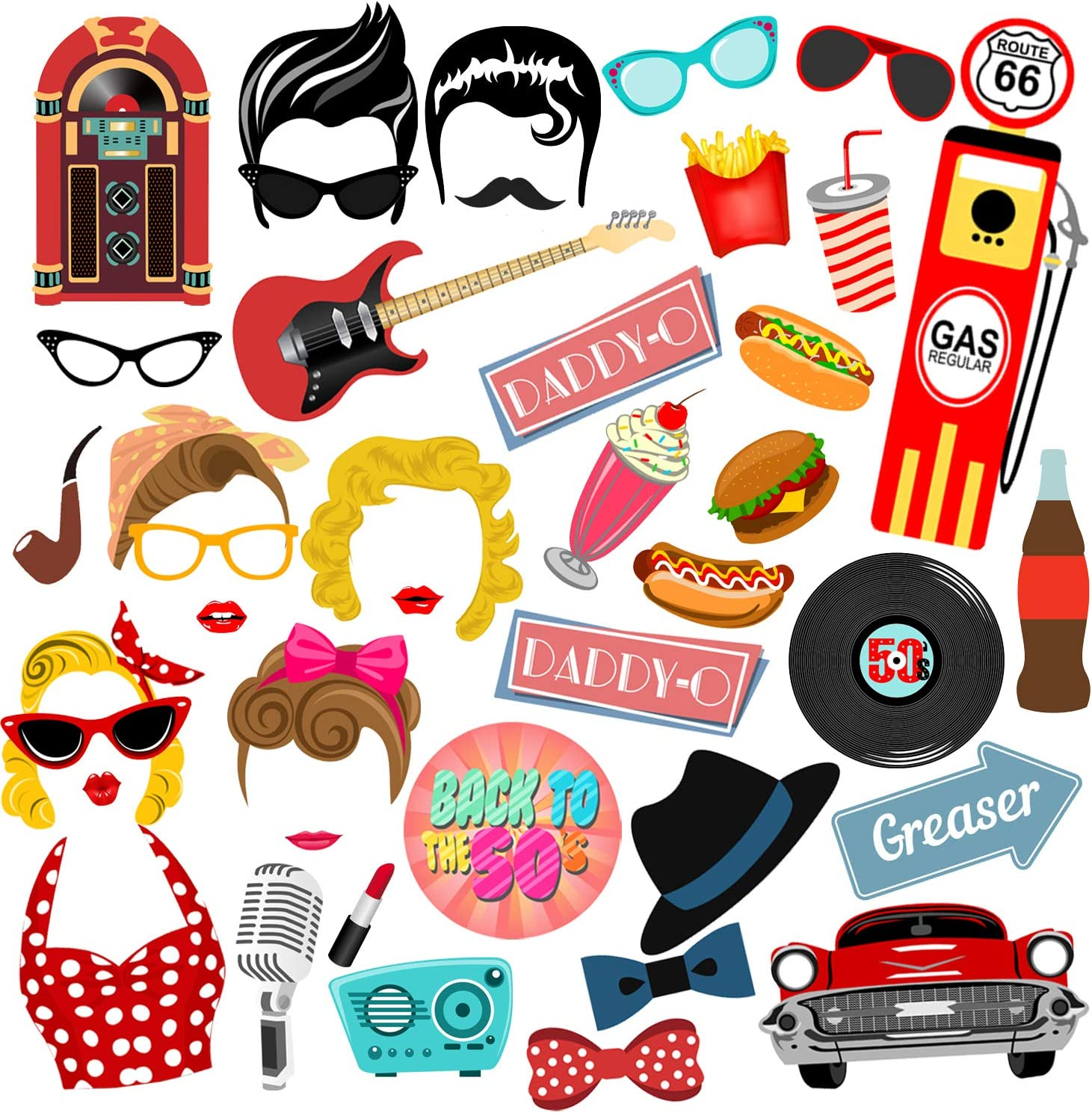 Amazon Com 50s Photo Booth Props Bizoerade 41pcs 50 S Sock Hop Photo Booth Props 1950s Rock N Roll Party Favors 50s Theme Party Supplies For 50s Dinner Party Home Kitchen