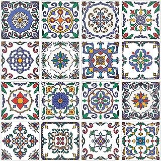 RoyalWallSkins Portugal Tile Decals 4x4 Inch - Set of 16 - Self Adhesive Peel and Stick Tile Stickers for Kitchen Backsplash Bathroom Vinyl Waterproof (Santarem TAD160415)