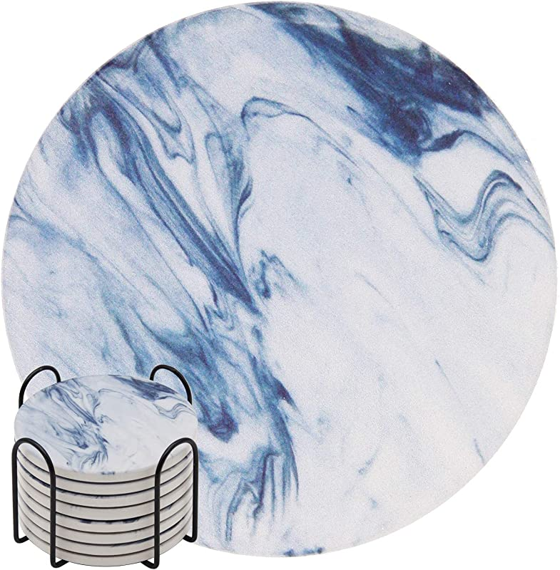 Absorbent Drink Coasters GOH DODD 8 Pieces Ceramic Mats Table Centerpieces Home Decor With Cork Backing And Holder Stand For Home Office Blue Marble Surface Pattern