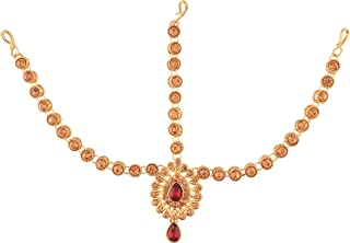I Jewels Gold Plated Traditional Matha Patti/Maang Tikka for Women (T2009M)